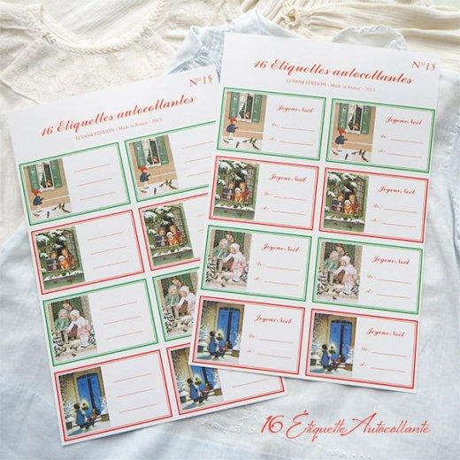 フランス ラベル シール ステッカー 16枚セット(No.15 クリスマス 窓辺 小鳥 クリスマスツリー Joyeux Noel )【画像9】