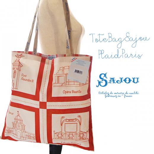 【単品販売】フランス製 SAJOU メゾン サジュー パリの街 エコバッグ トートバッグ ショルダーバッグ【Bシリーズ TOTE BAG SAJOU PLAID PARIS】
