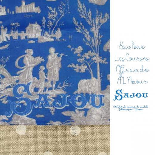 フランス製 SAJOU メゾン サジュー エコバッグ トートバッグ トワル・ド・ジュイ【ブルー SAC POUR LES COURSES OFFRANDE À L'AMOUR BLEU】【画像2】