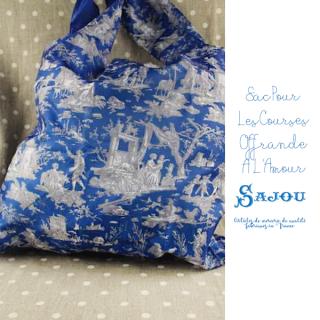 フランス製 SAJOU メゾン サジュー エコバッグ トートバッグ トワル・ド・ジュイ【ブルー SAC POUR LES COURSES OFFRANDE À L'AMOUR BLEU】