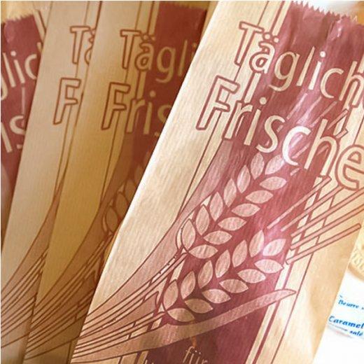 マルシェ袋 ドイツ 海外市場の紙袋( BROWN イラスト小麦)5枚セット