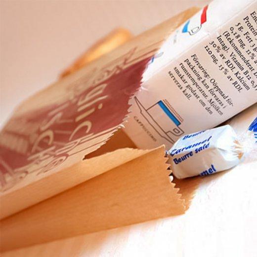 マルシェ袋 ドイツ 海外市場の紙袋( BROWN イラスト小麦)5枚セット【画像2】