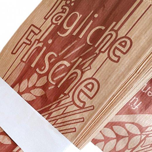 マルシェ袋 ドイツ 海外市場の紙袋( BROWN イラスト小麦)5枚セット【画像4】