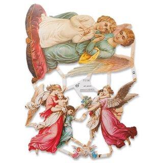 ドイツ クロモス【M】天使 天使の羽 バラ 忘れな草