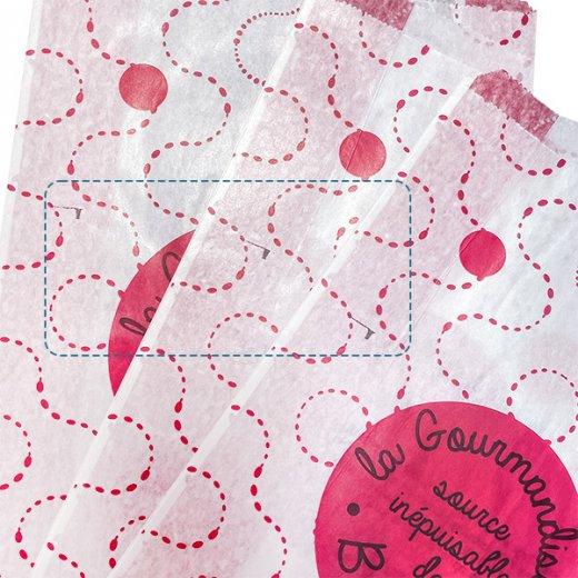 【アウトレット販売 印字ムラ 】マルシェ袋 フランス 海外市場の紙袋(La gourmandise・pink A)5枚セット