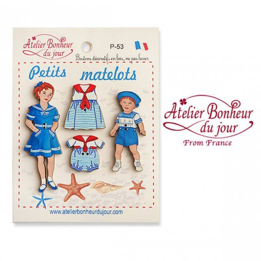 【お得なボタンセット】フランス輸入ボタン アトリエ・ボヌール・ドゥ・ジュール(小さなセーラー マリン 男の子 女の子 Petits matelots)