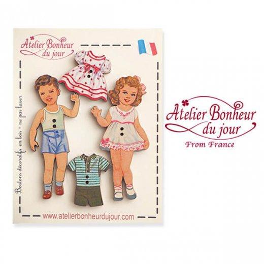 【お得なボタンセット】フランス輸入ボタン アトリエ・ボヌール・ドゥ・ジュール(幼子 きせかえ ドットワンピース リボン フリル)