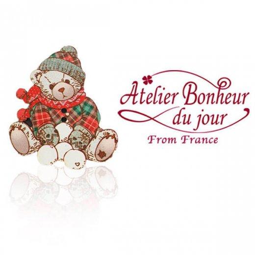 フランス輸入ボタン アトリエ・ボヌール・ドゥ・ジュール【ウィンター ベア ぬいぐるみ クリスマス】