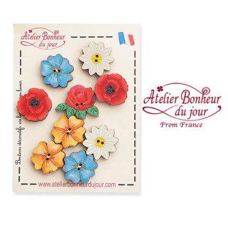 【お得なボタンセット】フランス輸入ボタン アトリエ・ボヌール・ドゥ・ジュール(お花 ローズ バラ ひなげし デイジー)