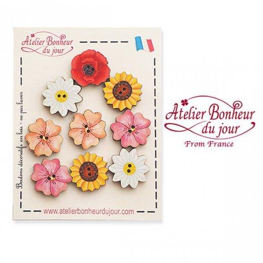 【お得なボタンセット】フランス輸入ボタン アトリエ・ボヌール・ドゥ・ジュール(お花 ひまわり ひなげし デイジー)