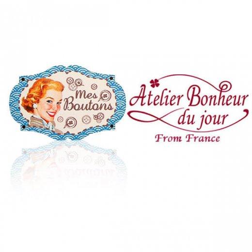 フランス輸入ボタン アトリエ・ボヌール・ドゥ・ジュール【プレート 手芸  裁縫 Mes Boutons 私のボタン ブルー】