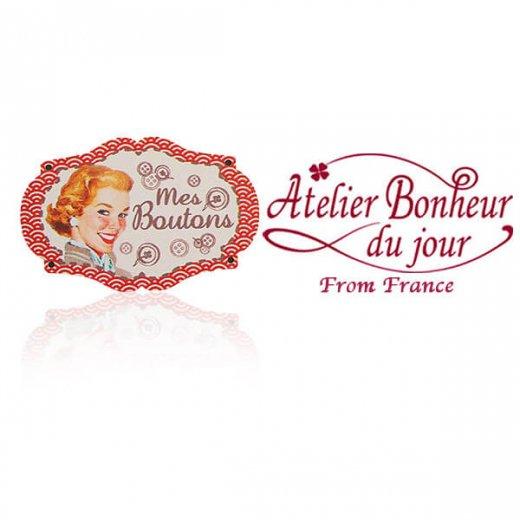 フランス輸入ボタン アトリエ・ボヌール・ドゥ・ジュール【プレート 手芸  裁縫 Mes Boutons 私のボタン レッド】