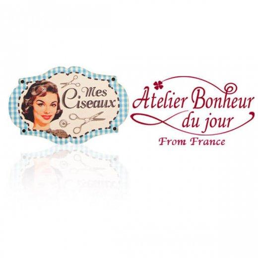フランス輸入ボタン アトリエ・ボヌール・ドゥ・ジュール【プレート 手芸  裁縫 Mes Ciseaux 私のほさみ ブルー】