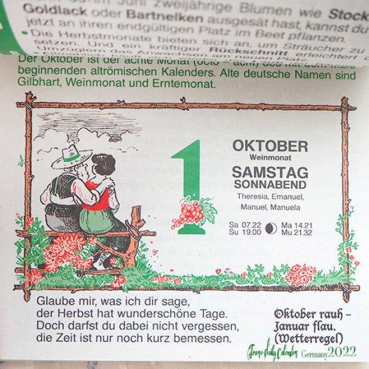 【予約販売になりました】10月中旬〜下旬入荷 2022年ドイツ RUNNEN (ブルネン) ガーデニング 日めくりカレンダー【画像7】