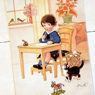 ネコ 猫 モチーフの雑貨  フランスポストカード (Une letter B)