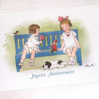 フランス輸入雑貨・ヴィンテージ・アンティーク フランスポストカード (Joyeux anniversaire B)