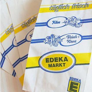 雑貨店でみつけたかわいい文房具 掲載雑貨 おすすめ雑貨 マルシェ袋 ドイツ 海外市場の紙袋(Edekaマーケット)5枚セット