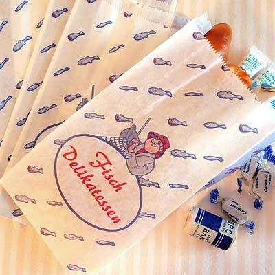 マルシェ袋 ドイツ  海外市場の紙袋(フィッシュ)5枚セット