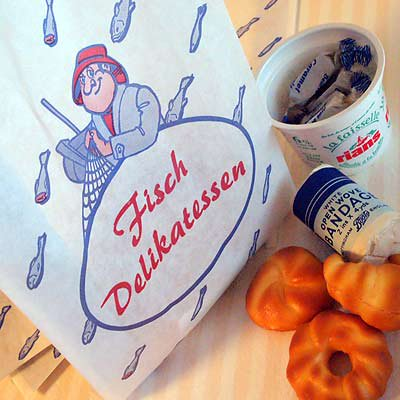 マルシェ袋 ドイツ  海外市場の紙袋(フィッシュ)5枚セット【画像3】