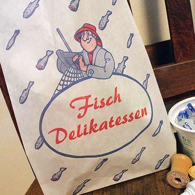 マルシェ袋 ドイツ  海外市場の紙袋(フィッシュ)5枚セット【画像4】