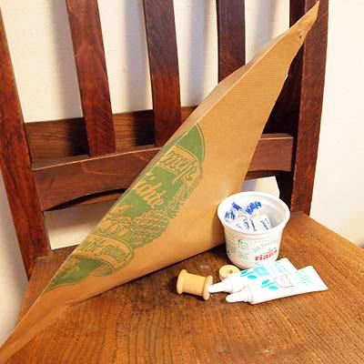 マルシェ袋 ドイツ 海外市場の紙袋 三角(フルーツA)5枚セット【画像4】