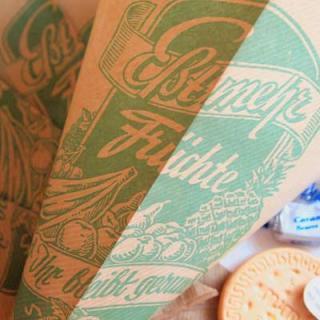 マルシェ袋 ドイツ 海外市場の紙袋 三角(フルーツA)5枚セット