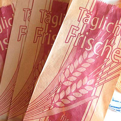 マルシェ袋 ドイツ 海外市場の紙袋(イラスト小麦)5枚セット