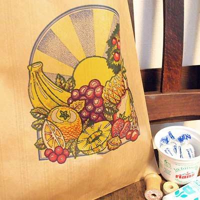マルシェ袋 フランス 海外市場の紙袋(フルーツと太陽)5枚セット【画像4】