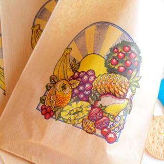 フランス輸入雑貨・ヴィンテージ・アンティーク マルシェ袋 フランス 海外市場の紙袋(フルーツと太陽)5枚セット