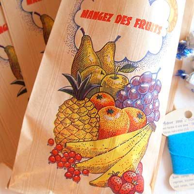マルシェ袋 フランス 海外市場の紙袋(フルーツ雲太陽)5枚セット