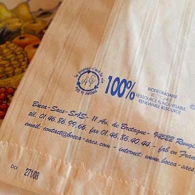マルシェ袋 フランス 海外市場の紙袋(フルーツ雲太陽)5枚セット【画像3】