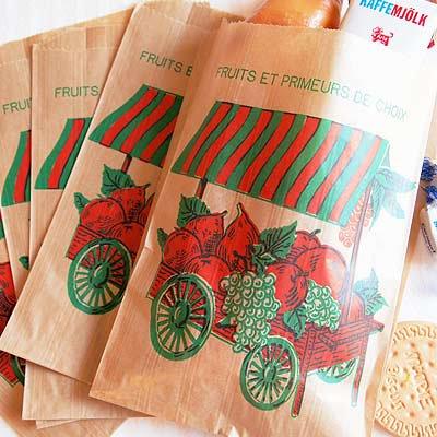 マルシェ袋 フランス 海外市場の紙袋(フルーツカートM)5枚セット