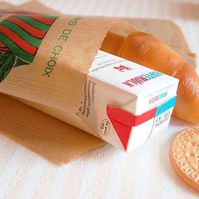 マルシェ袋 フランス 海外市場の紙袋(フルーツカートMサイズ)5枚セット【画像2】