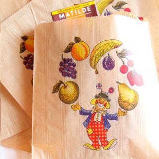 フランス 雑貨 マルシェ袋 フランス 海外市場の紙袋(フルーツ道化師)5枚セット