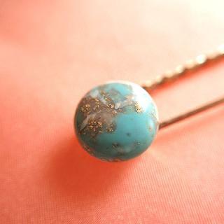 アンティーク 1980's Fashion plate pin(ファッションプレートピン/ブルーストーン)