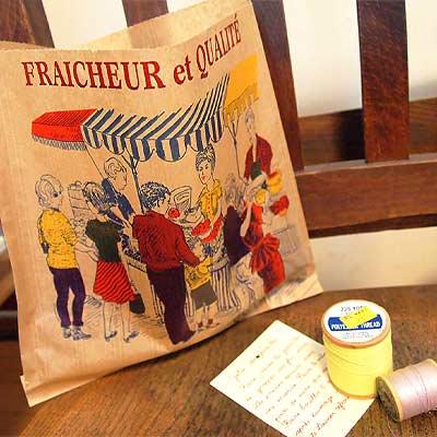 マルシェ袋 フランス 海外市場の紙袋(マルシェ・市場)5枚セット【画像3】