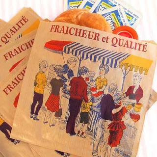 マルシェ袋 フランス 海外市場の紙袋(マルシェ・市場)5枚セット