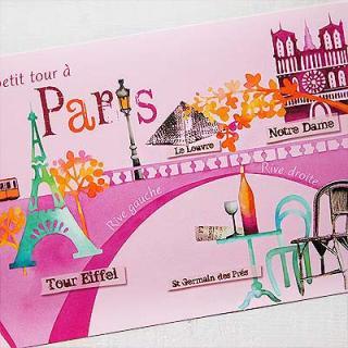 フランスポストカード エッフェル塔 ルーブル美術館 ノートルダム大聖堂(Un petit tour a Paris)