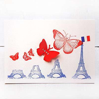 フランス エッフェル塔 バタフライ ポストカード (PARIS LOVE)【画像2】