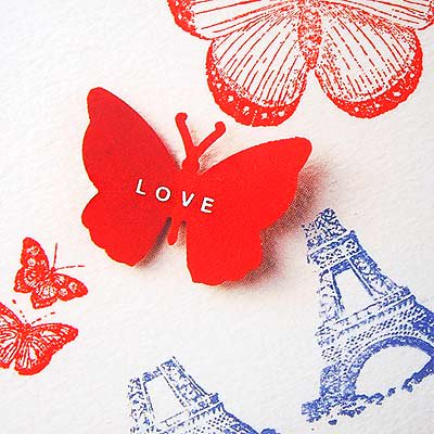フランス エッフェル塔 バタフライ ポストカード (PARIS LOVE)【画像3】