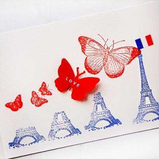 フランス輸入雑貨・ヴィンテージ・アンティーク フランス エッフェル塔 バタフライ ポストカード (PARIS LOVE)