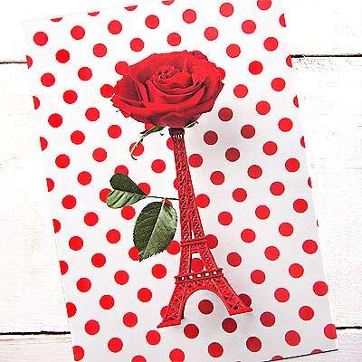 フランス エッフェル塔 ポストカード ローズ バラ (Roses rouges et la Tour Eiffel)