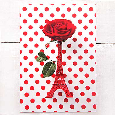フランス エッフェル塔 ポストカード ローズ バラ (Roses rouges et la Tour Eiffel)【画像2】
