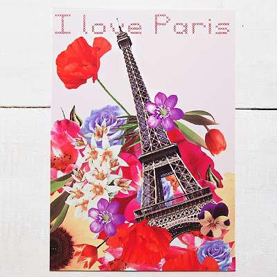 フランス エッフェル塔 フラワー ポストカード ( I love Paris)【画像2】