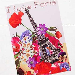かわいい雑貨 フランス エッフェル塔 フラワー ポストカード ( I love Paris)