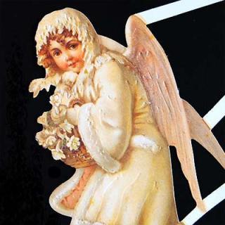 クリスマス(Xmas) 輸入 雑貨 ドイツ クロモス【M】<ホワイトエンジェル>
