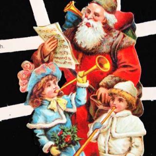 スクラップブッキング ドイツ クロモス【M】<サンタと子供たち>