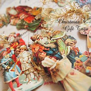 クリスマス(Xmas) 輸入 雑貨 ドイツ クロモス【タグ】<サンタと子供たち A-TYPE>