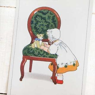 フランス輸入雑貨・ヴィンテージ・アンティーク フランスポストカード (Green Chair)