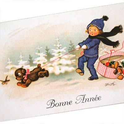 フランス クリスマスポストカード (Bonne Annee A)